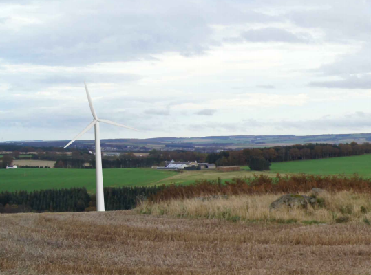 An artists impression of the Forglen turbine.