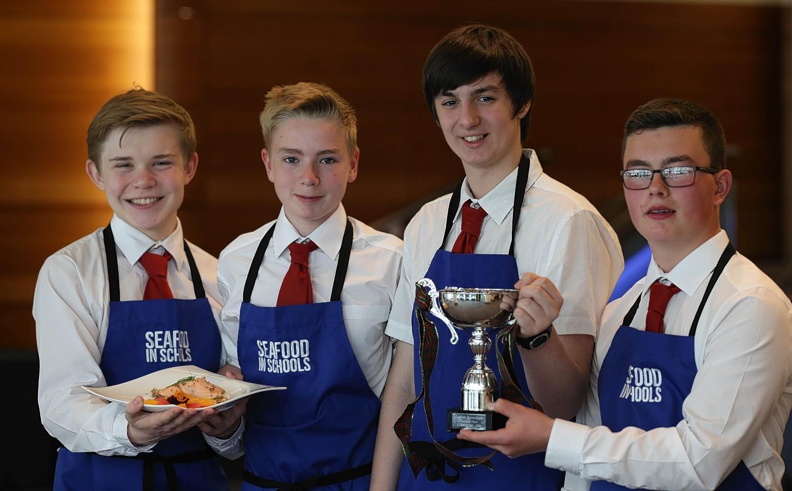 (Left to right) Fraser Nicol,Flett Marshal,Ewan McAtire,Jay Brady from Glen Urquhart High School