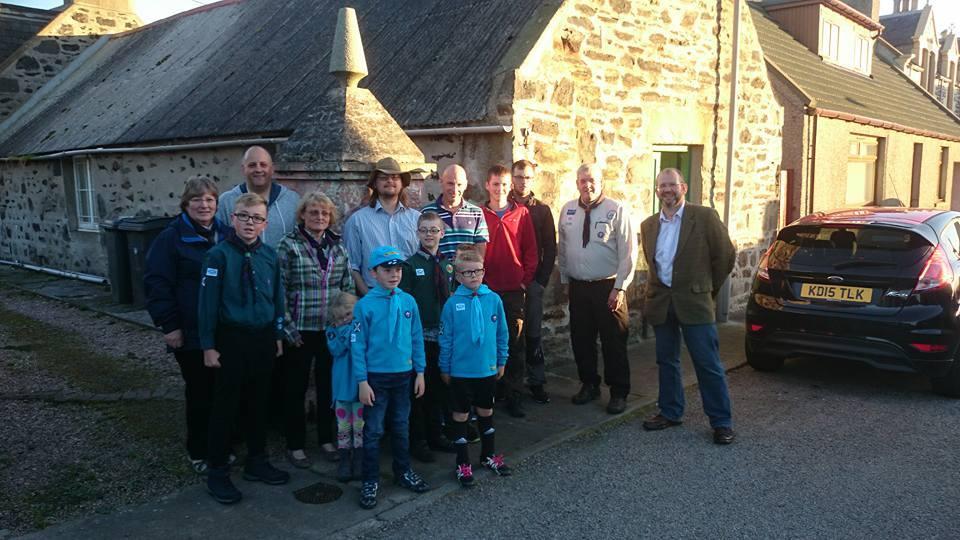 Scouts gather at the Macduff hut.
