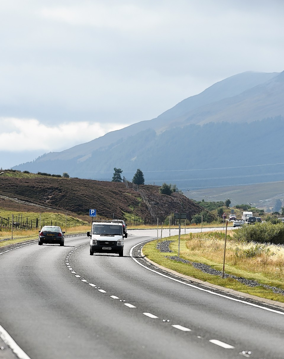 Traffic on the A9 north of Dalwhinnie