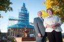 Bellie Church, Fochabers is being refurbished thanks to Heritage Lottery Fund money and fundraising. Pictured: George McIntyre and Joan Jones from the tower team.