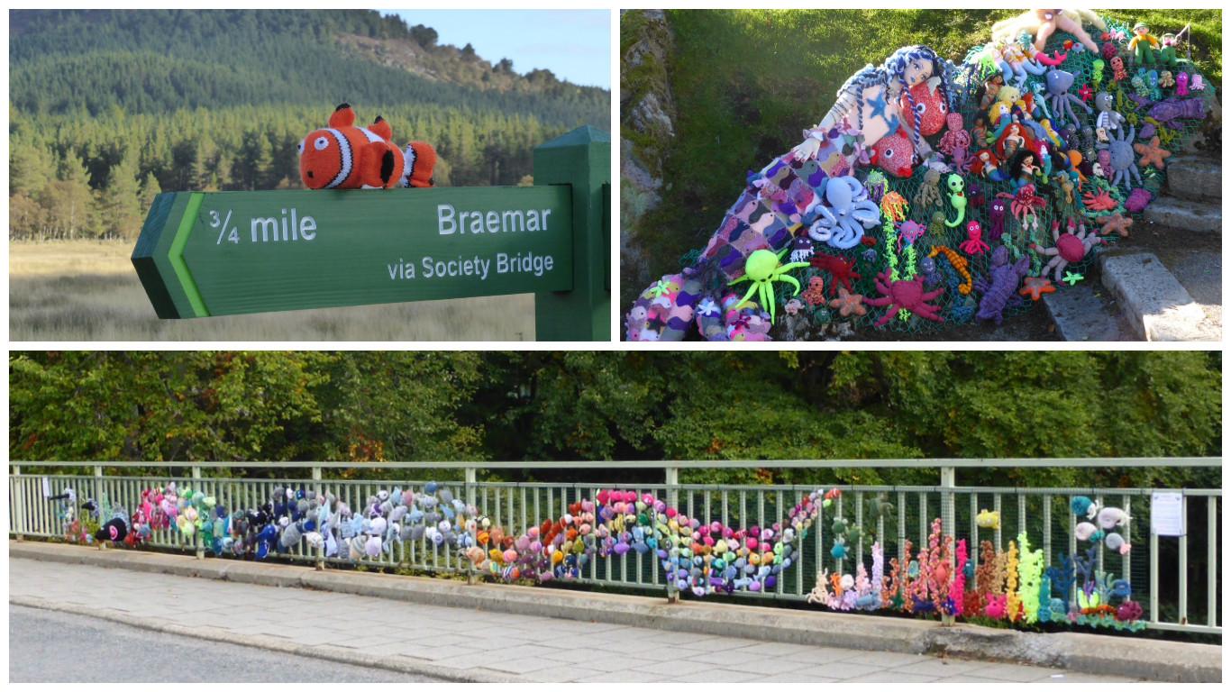 The Deeside Knitwits installations around Braemar