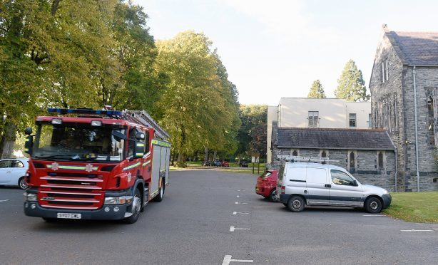 Fire crews at the scene at Fort Augustus Abbey