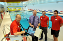 Forres swimming pool will reopen next week following a refurbishment. L-R: Supervisor, David Chapman, sports and leisure manager, Ken Brown, lifeguards, Steven Hamilton and Andrew Turnbull, next to the pool. Picture by Gordon Lennox