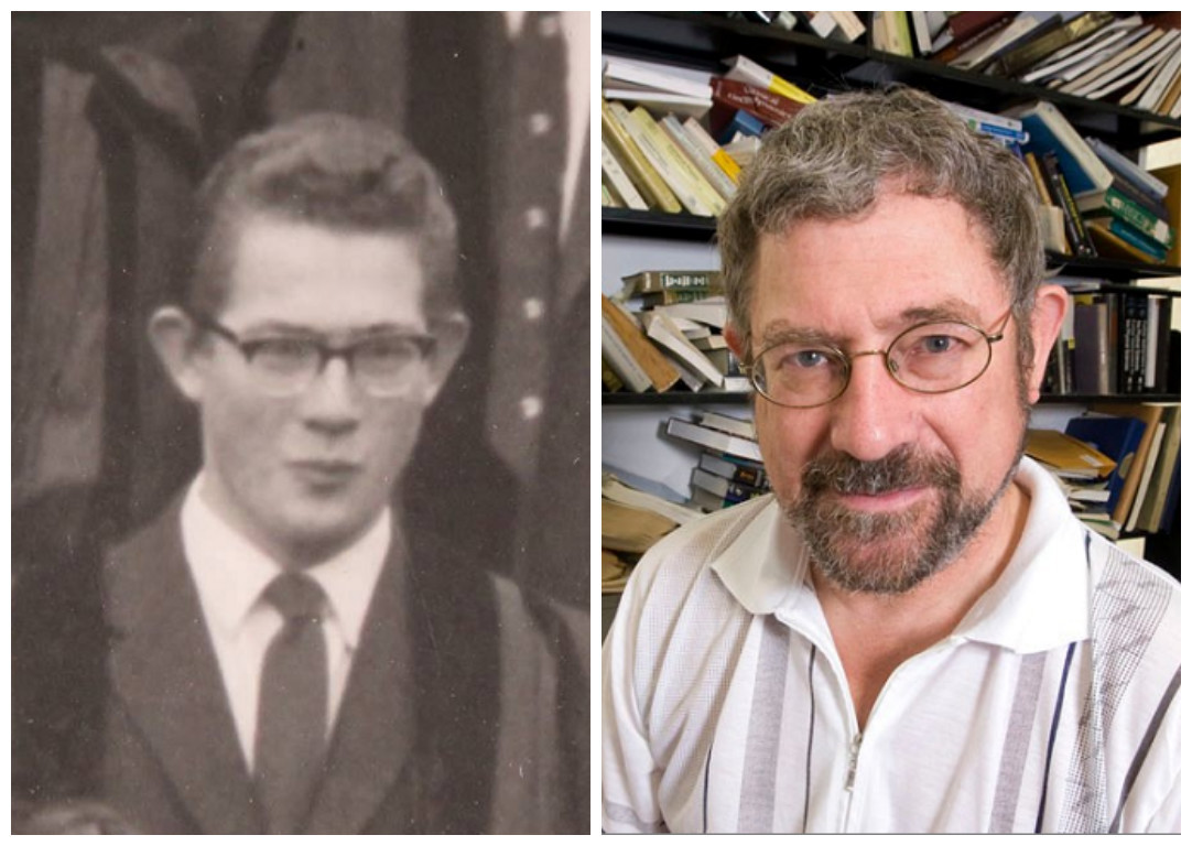 Michael Kosterlitz in his youth at the University of Cambridge (left) and more recently