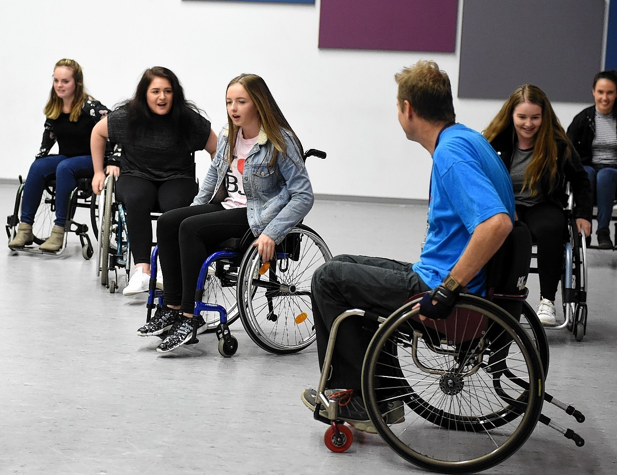 The wheelchair mobility sessions were held at Ellon Academy.