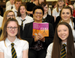 Jackie Kay, National Poet of Scotland, during a visit to Milne's High School, Fochabers, surrounded by S4 and S5 pupils. Picture by Gordon Lennox