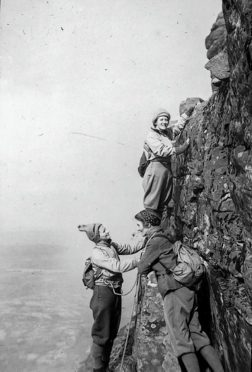 Members of the Ladies Scottish Climbing Club climbing Suilven in 1939