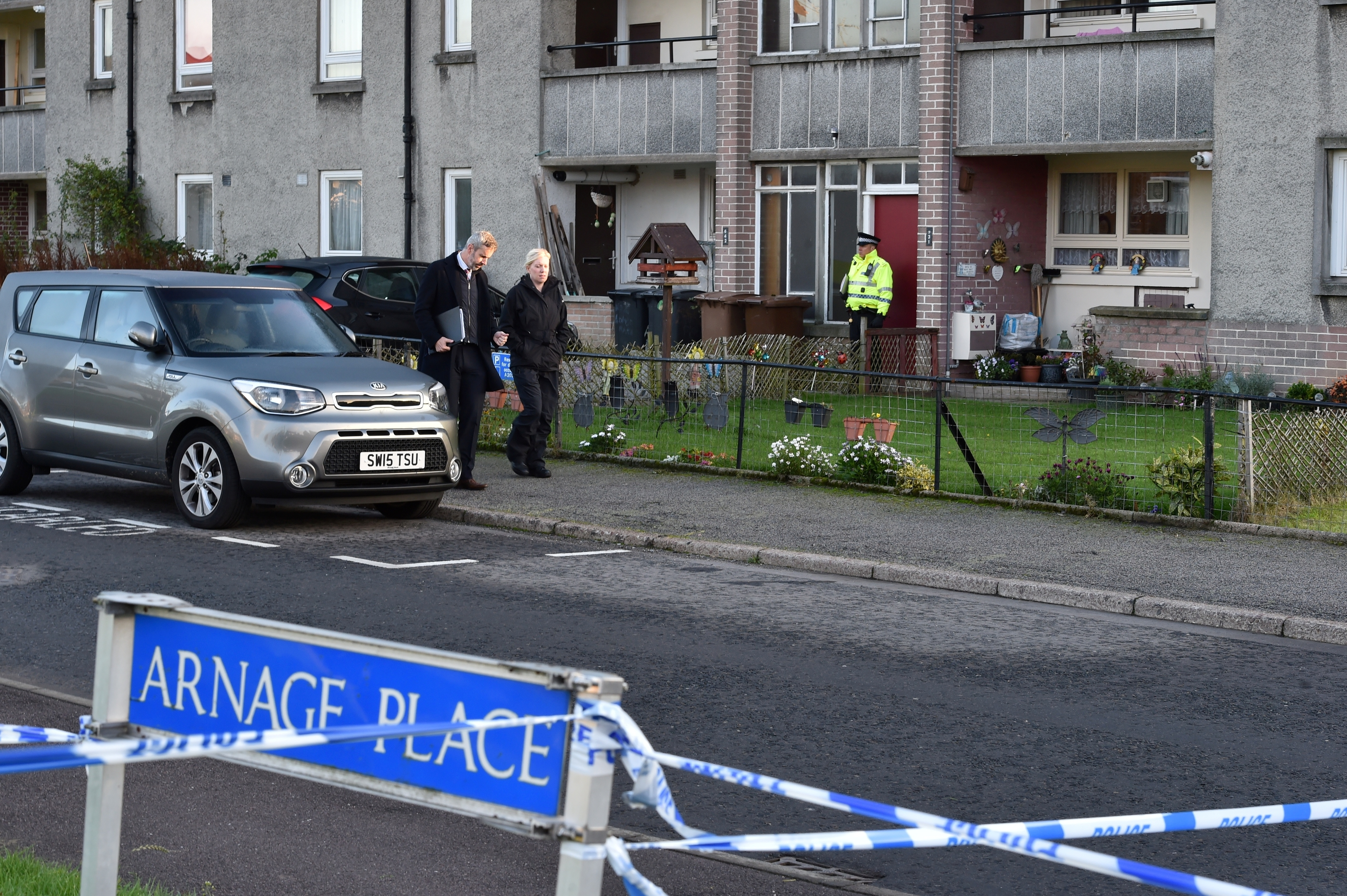 A heavy police presence at Arnage Place, Mastrick.