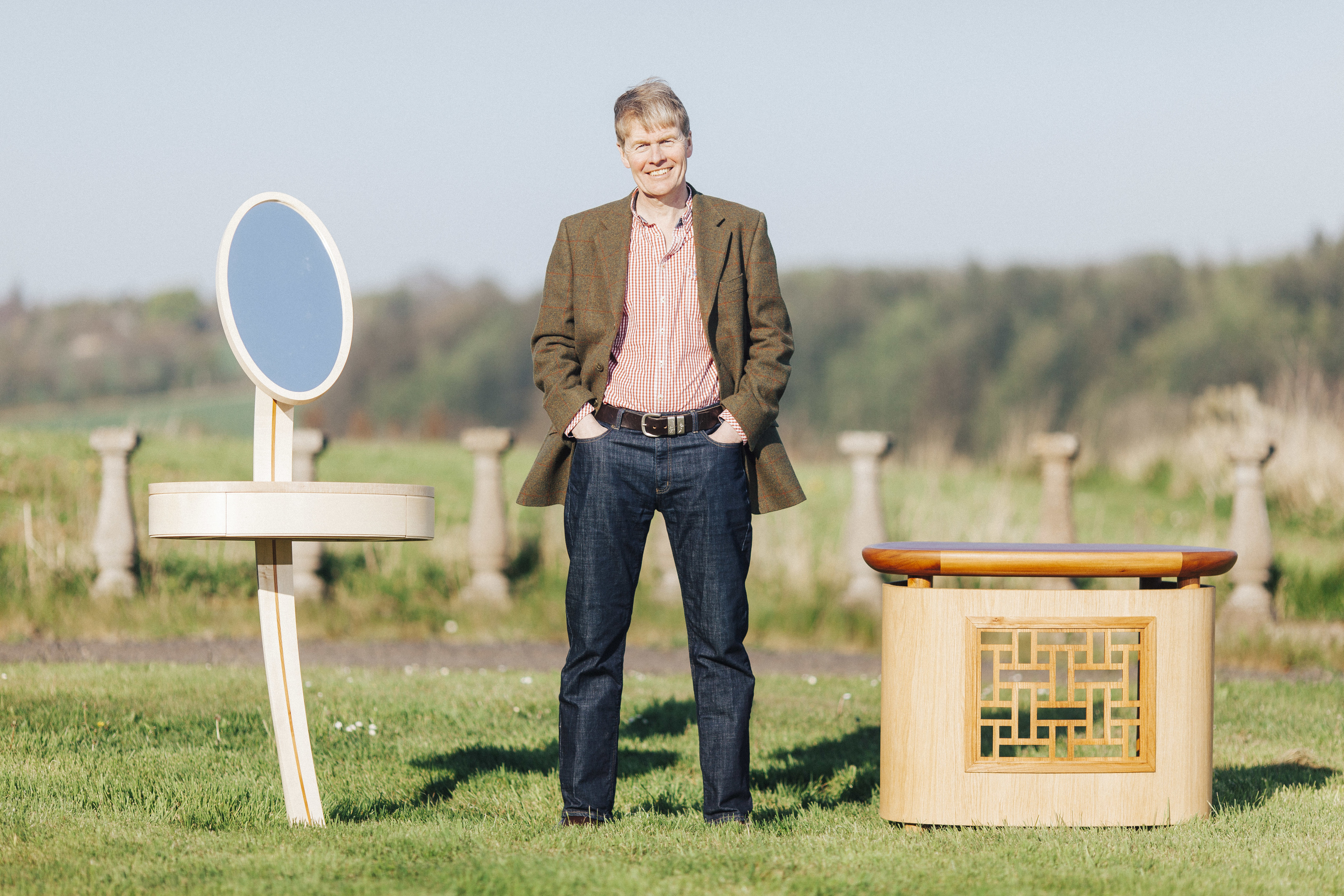 Furniture maker Mike Whittall with examples of his work.