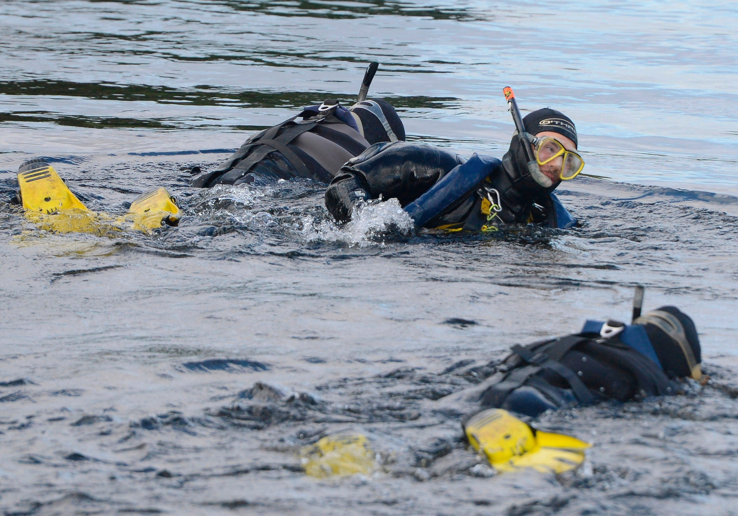 Police divers search the River Tay