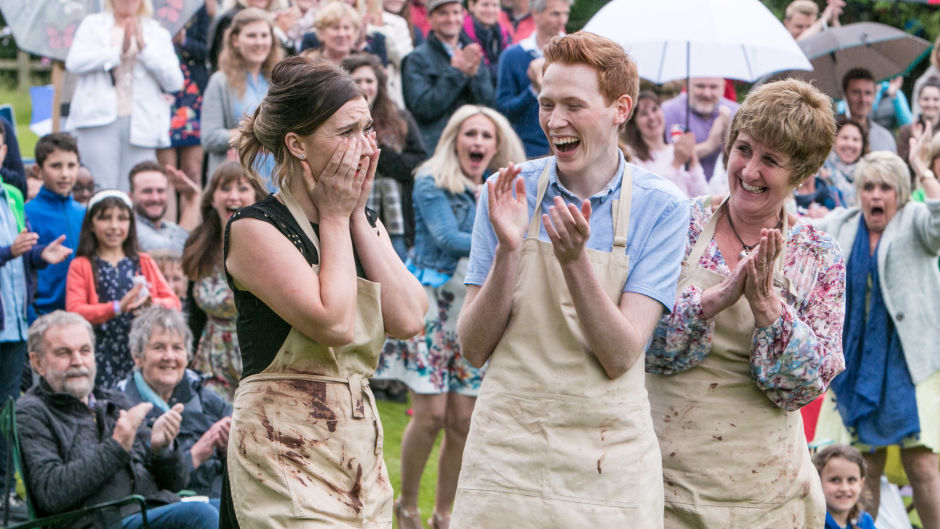 For use in UK, Ireland or Benelux countries only Undated BBC handout photo of Jane Beedle (right), Andrew Smyth and Candice Brown, who has been crowned champion of this year's Great British Bake Off.