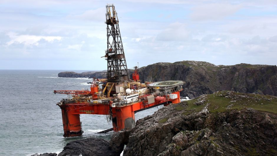 The Transocean Winner drilling rig after it ran aground on the beach of Dalmore in the Carloway area of the Isle of Lewis