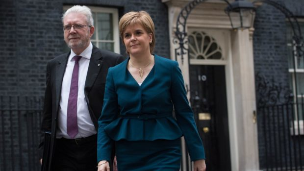 Nicola Sturgeon leaves 10 Downing Street with her Brexit minister Michael Russell