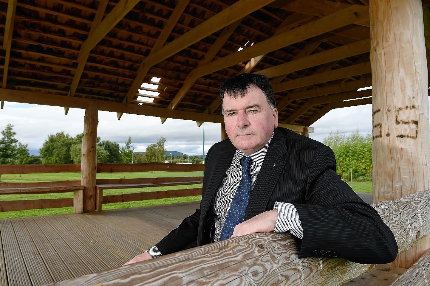 Highland Councillor Ken Gowans in the vandalised pavilion in Inshes Park