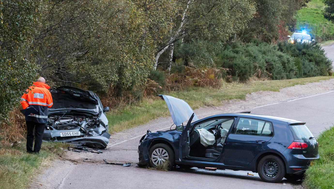 A woman in her 90s was taken to hospital in Elgin following the crash.