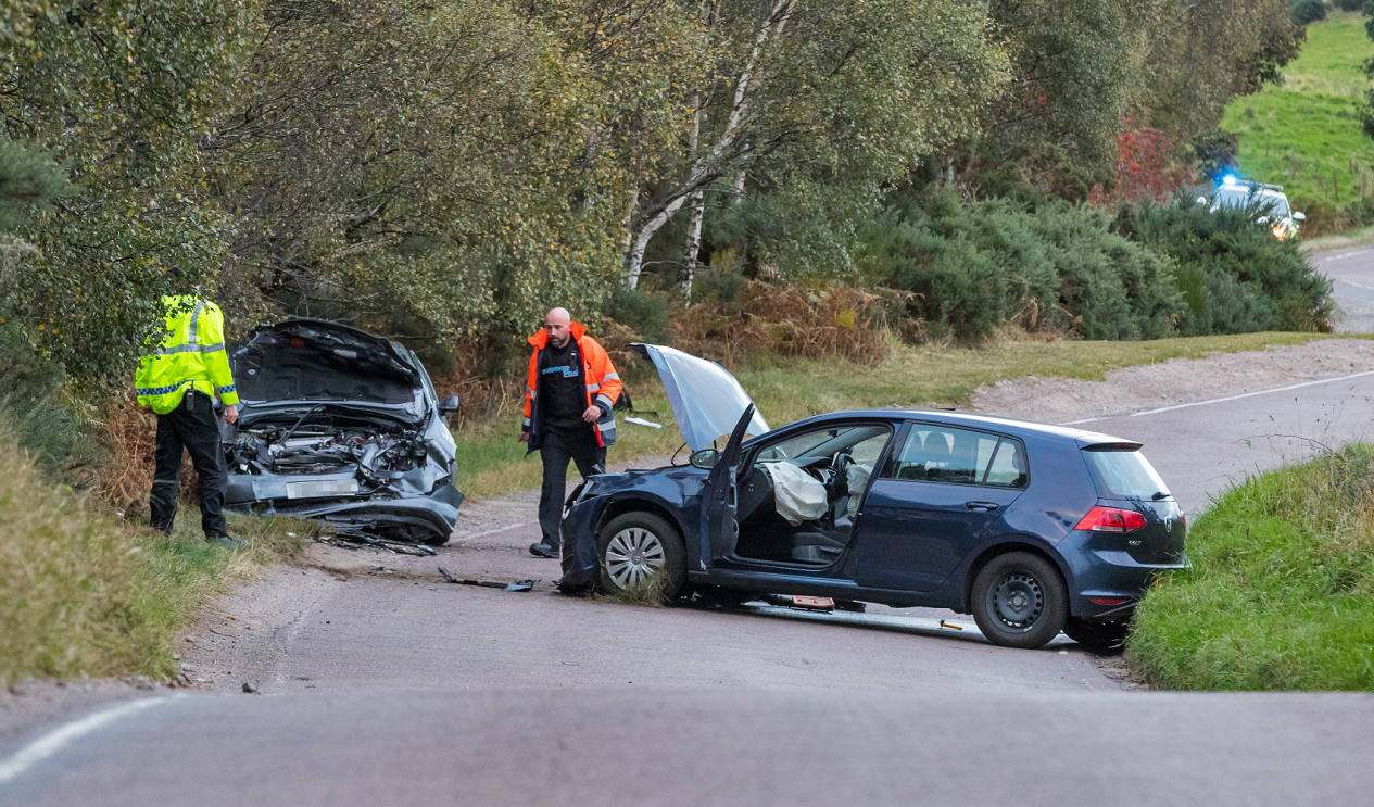 Four people were taken to hospital following the crash on the B9010 near Tulloch Low Wood.