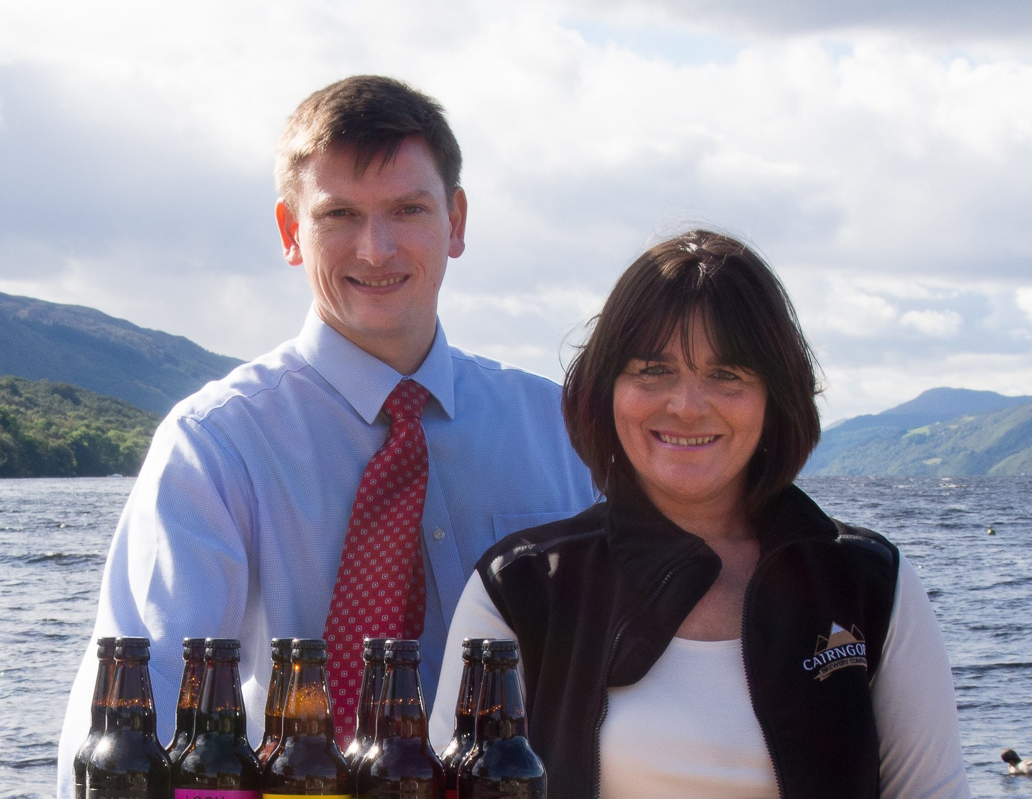 Rory Cameron, left, of Cobbs, with Sam Faircliff, of Cairngorm Brewery, at Loch Ness.