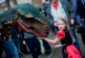 Caydance Krugel, 8, led the dinosaur on a chain through Elgin's town centre.