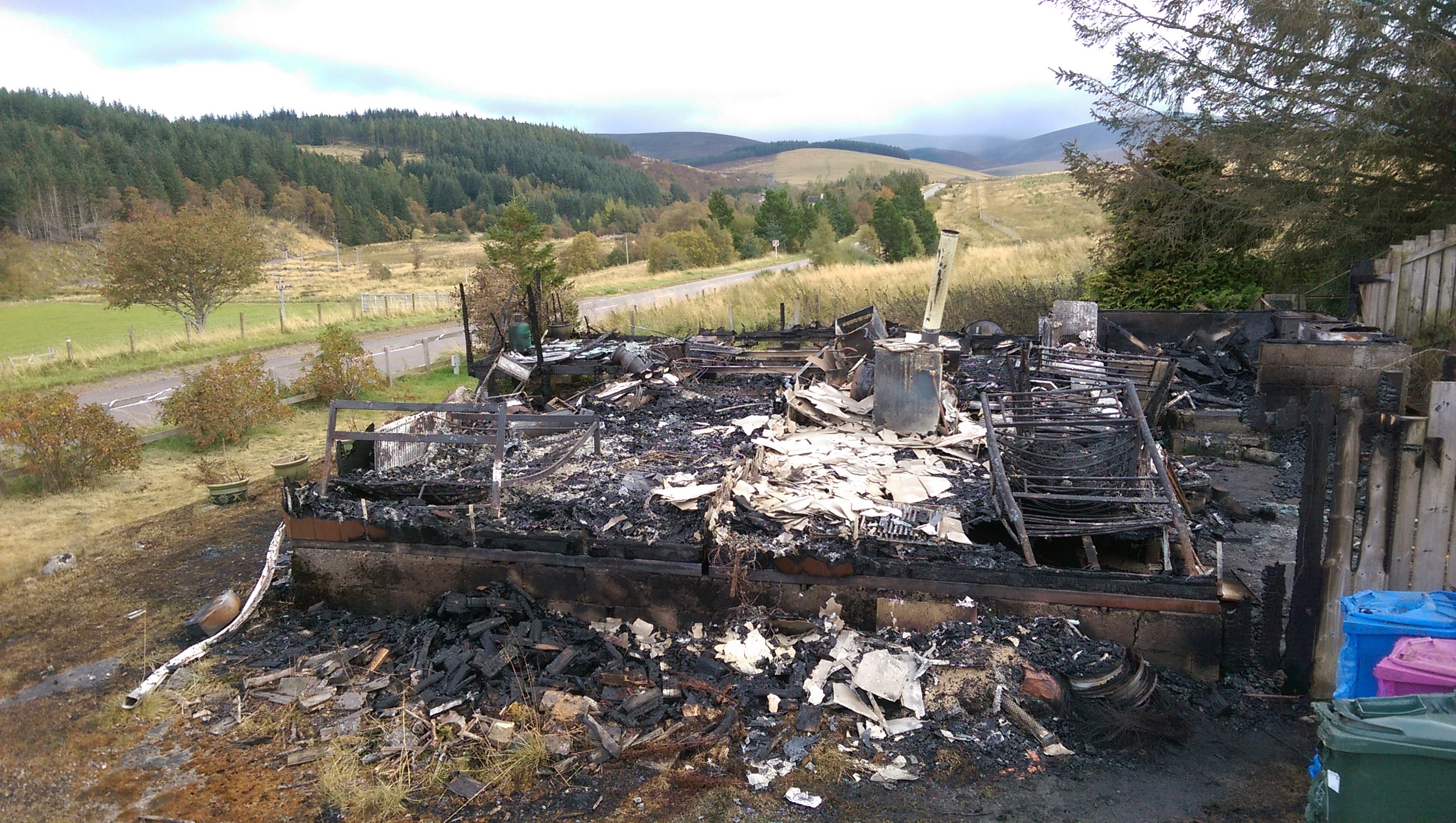 Only charred remains are left of Joanna Davidson's home near Tomintoul.