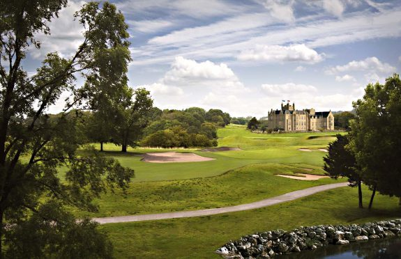 Artist's impression of Ury House from the 1st hole of the golf course