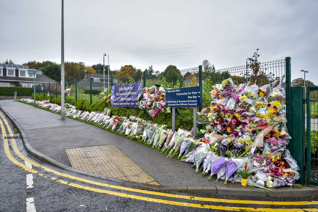 Hundreds of floral tributes were laid at Cults Academy after the death of Bailey