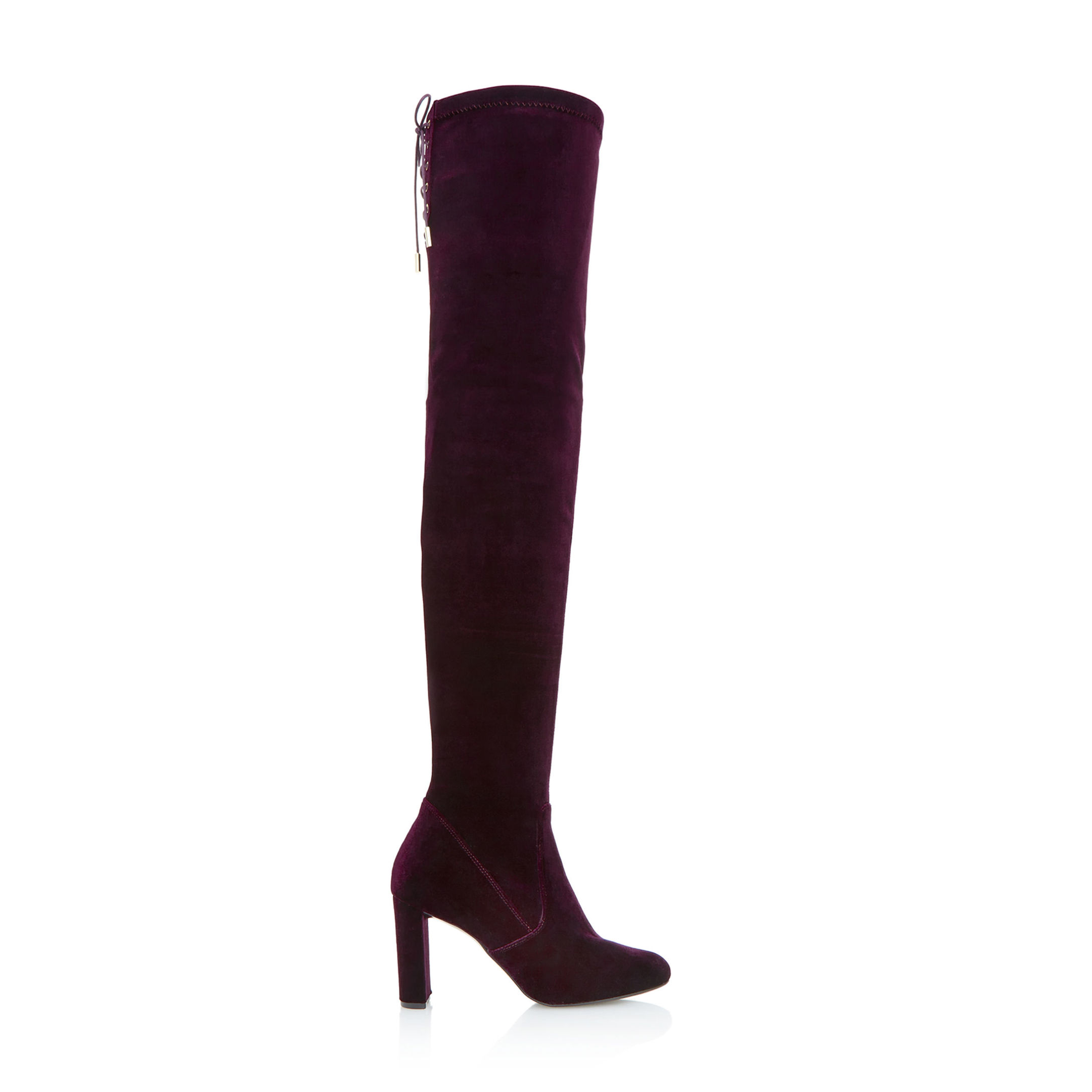 Dune Stella Lace Up Back Over the Knee Burgundy Boots, available from dunelondon.com.