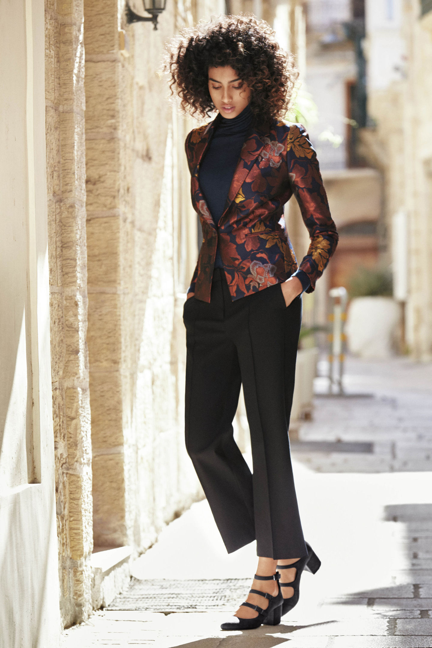 Next Floral Metallic Jacquard Jacket, Long Sleeve Wool Blend Roll Neck, Black Crepe Slouch Trousers and Strappy Court Shoes, available from next.co.uk.
