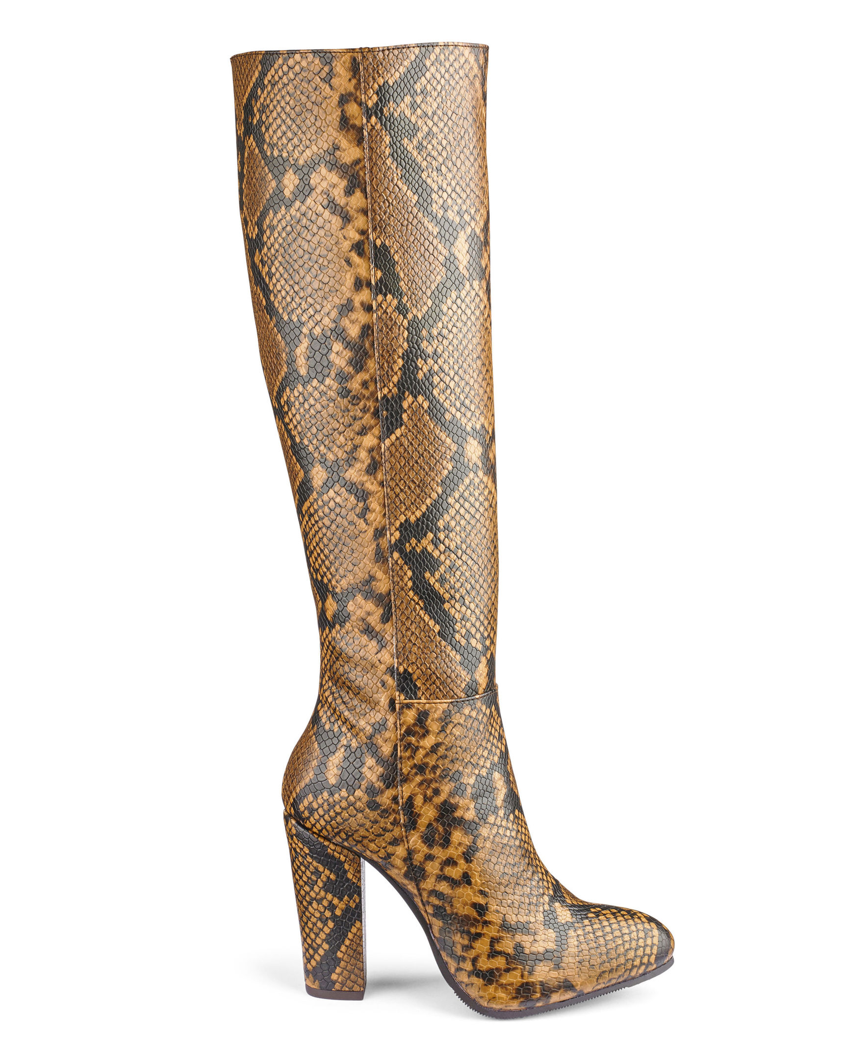 JD Williams Heavenly Soles Snake Side Zip Knee High Boots, available from jdwilliams.co.uk.