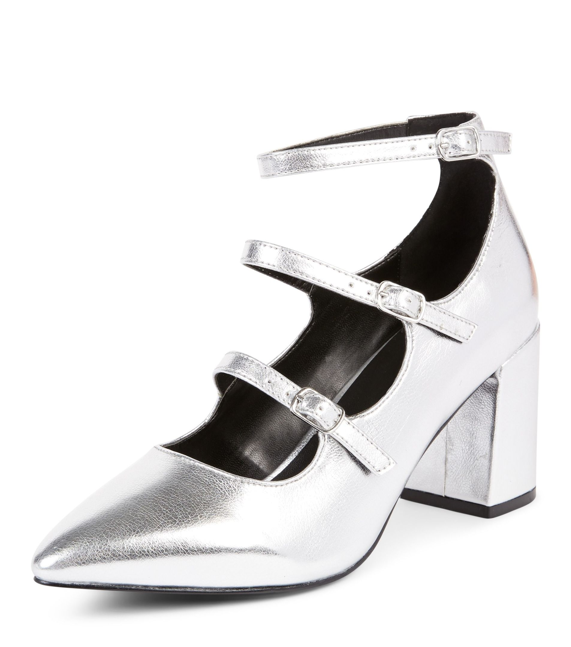 New Look Wide Fit Silver Patent Triple Strap Pointed Block Heels, available from newlook.com.
