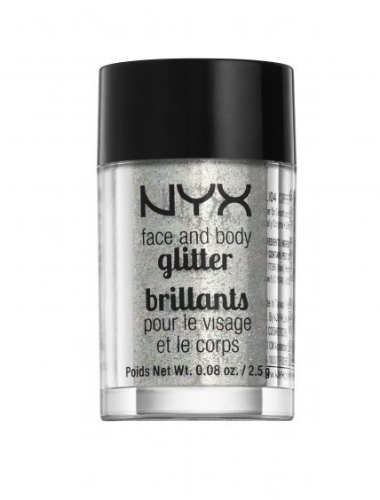 NYX Face and Body Glitter in Silver, available from Boots.