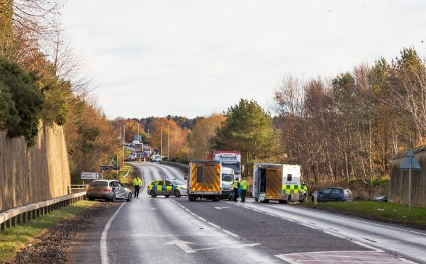 Scene of the crash between an NHS medical bus and a car on the A96