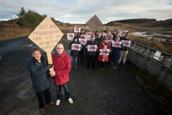 Old Deer residents protested  Aikey Brae as a site for travellers.