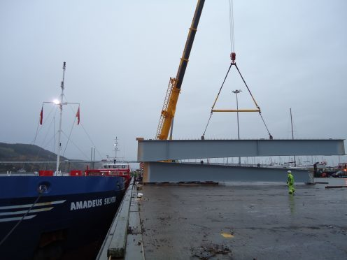 The beams for the new Inverness West Link arriving at the port of Inverness