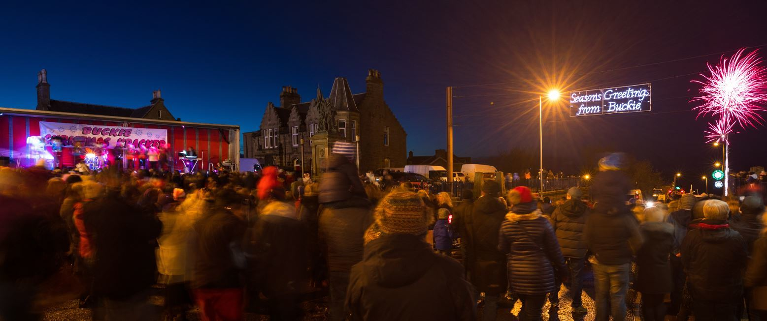About 4,000 people were in Buckie's town centre to see the Christmas lights be switched on.
