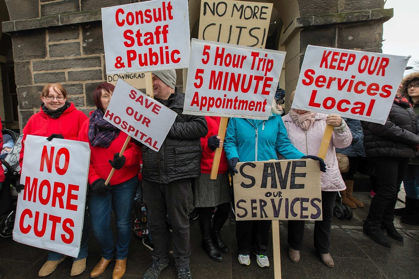 Campaigners held a demonstration outside Wick Town Hall