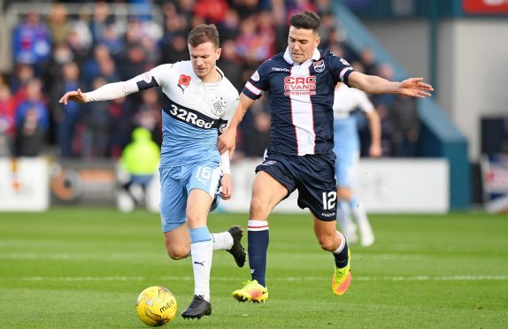 Ross County midfielder Tim Chow was sent off.