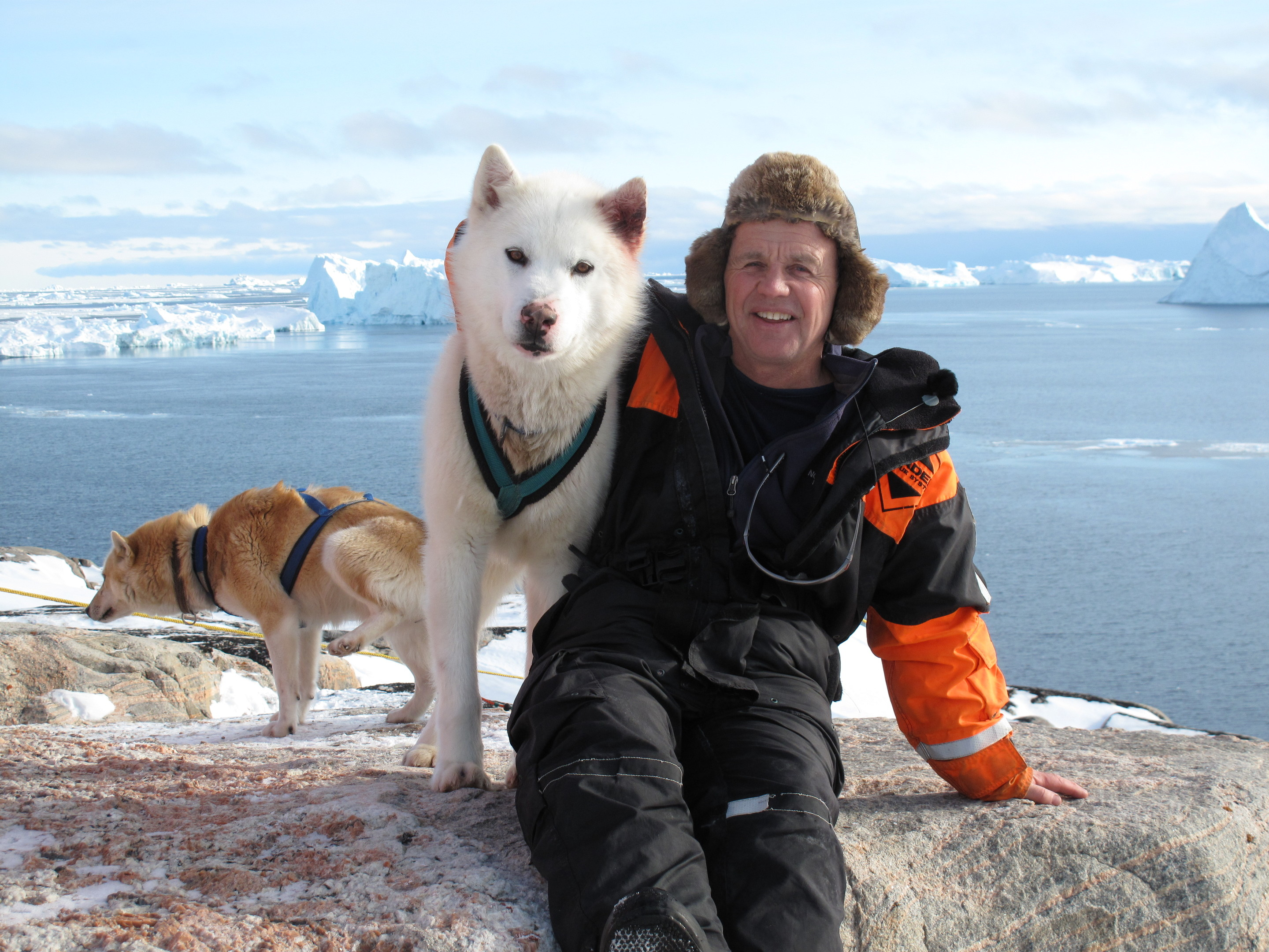 Doug and a husky in Greenland