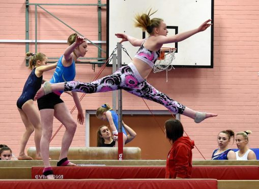 A young gymnast from the Garioch Gymnastics Club. Picture by Jim Irvine.