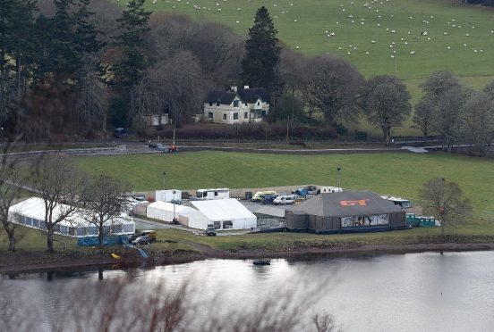 The Grand Tour tent takes shape on the shores of Loch Ness