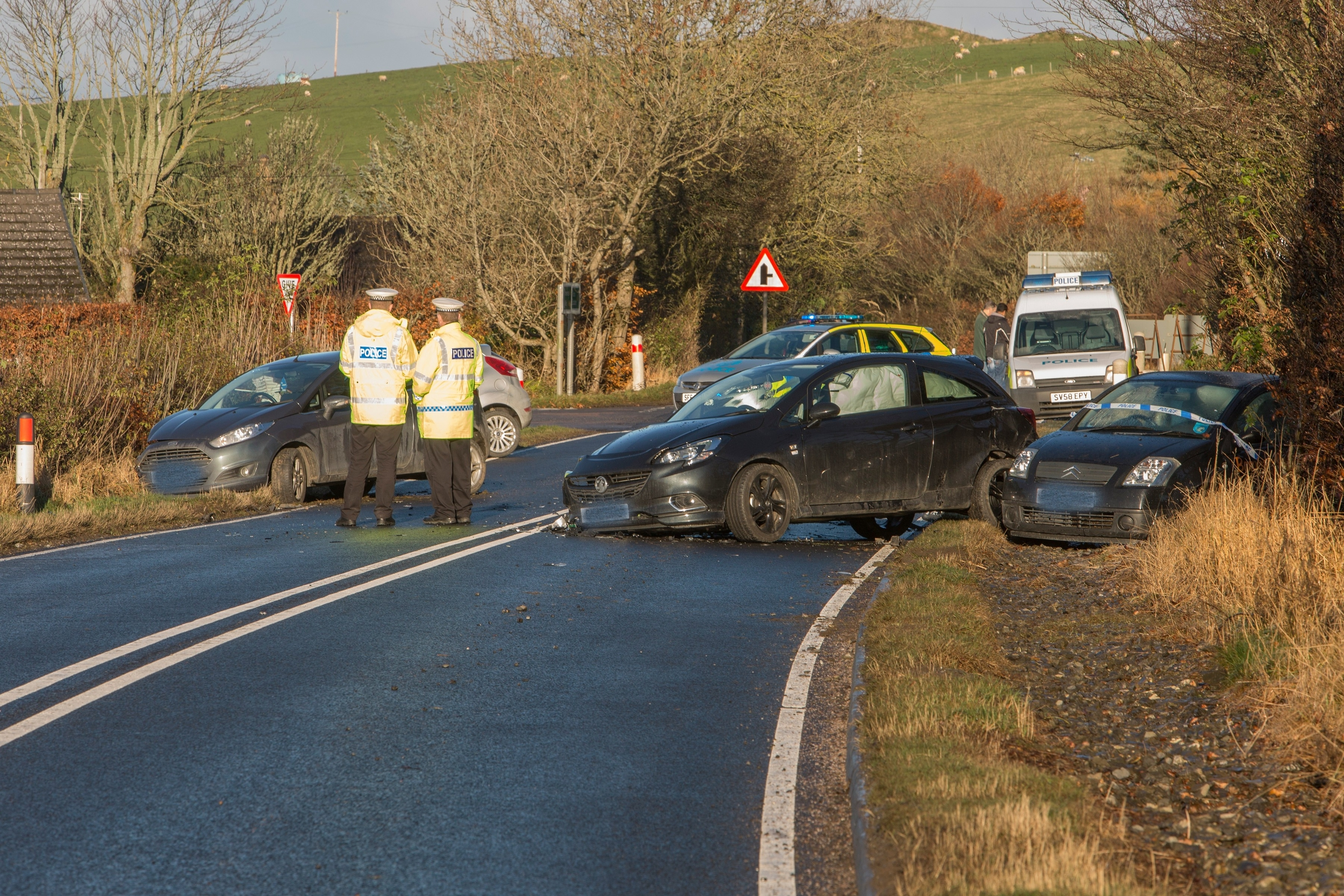 The scene of an accident at Halkirk