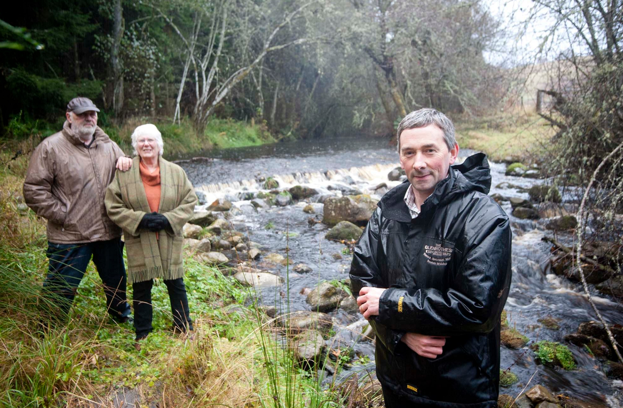 Funds raised from Knockando Community Trust's hydro scheme will be used to fund the village hall. Pictured: trust chairman Alasdair Anderson (right), directors Jolyon Havined and Jana Huntt (left).