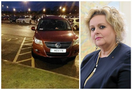 Maxine Smith's car was pictured parked in a disabled bay at Raigmore Hospital