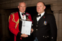 Vice-chief of Defence Staff, General Sir Gordon Messenger presenting Chris Tuke with the silver award.