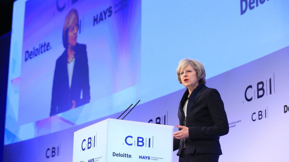 Prime Minister Theresa May speaks to the Confederation of British Industry (CBI) annual conference in London