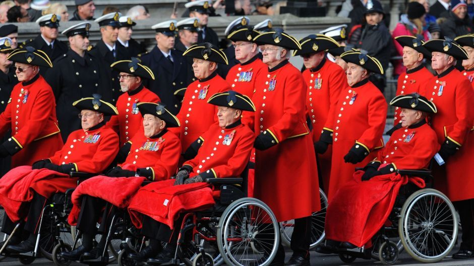 Veterans parade during the annual Remembrance Sunday service at the Cenotaph memorial in Whitehall, central London.