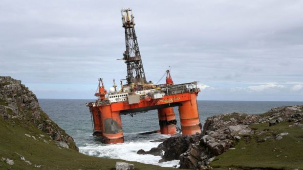 The Transocean Winner drilling rig after it ran aground on the beach of Dalmore