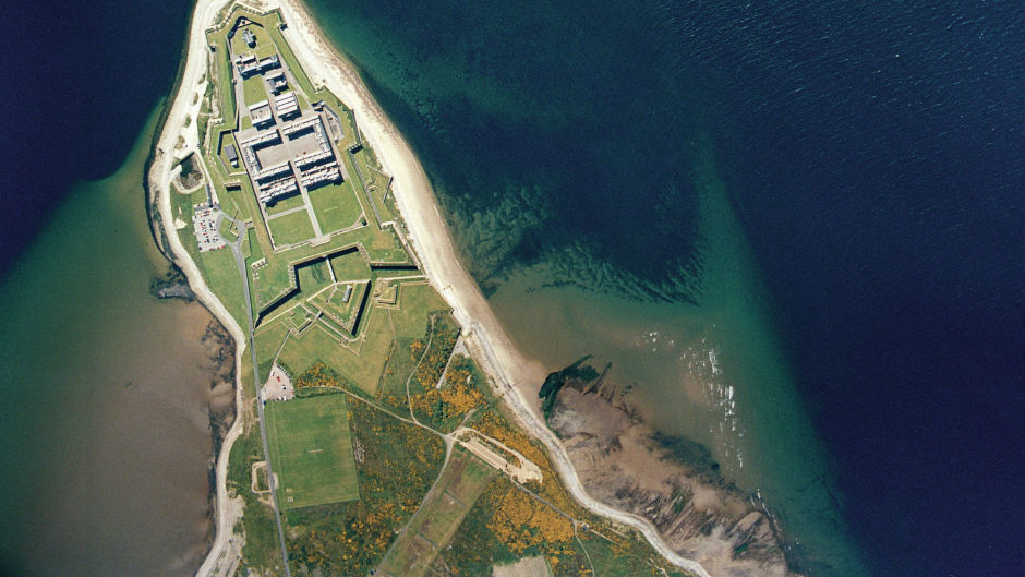 An aerial view of  Fort George army barracks near Inverness.