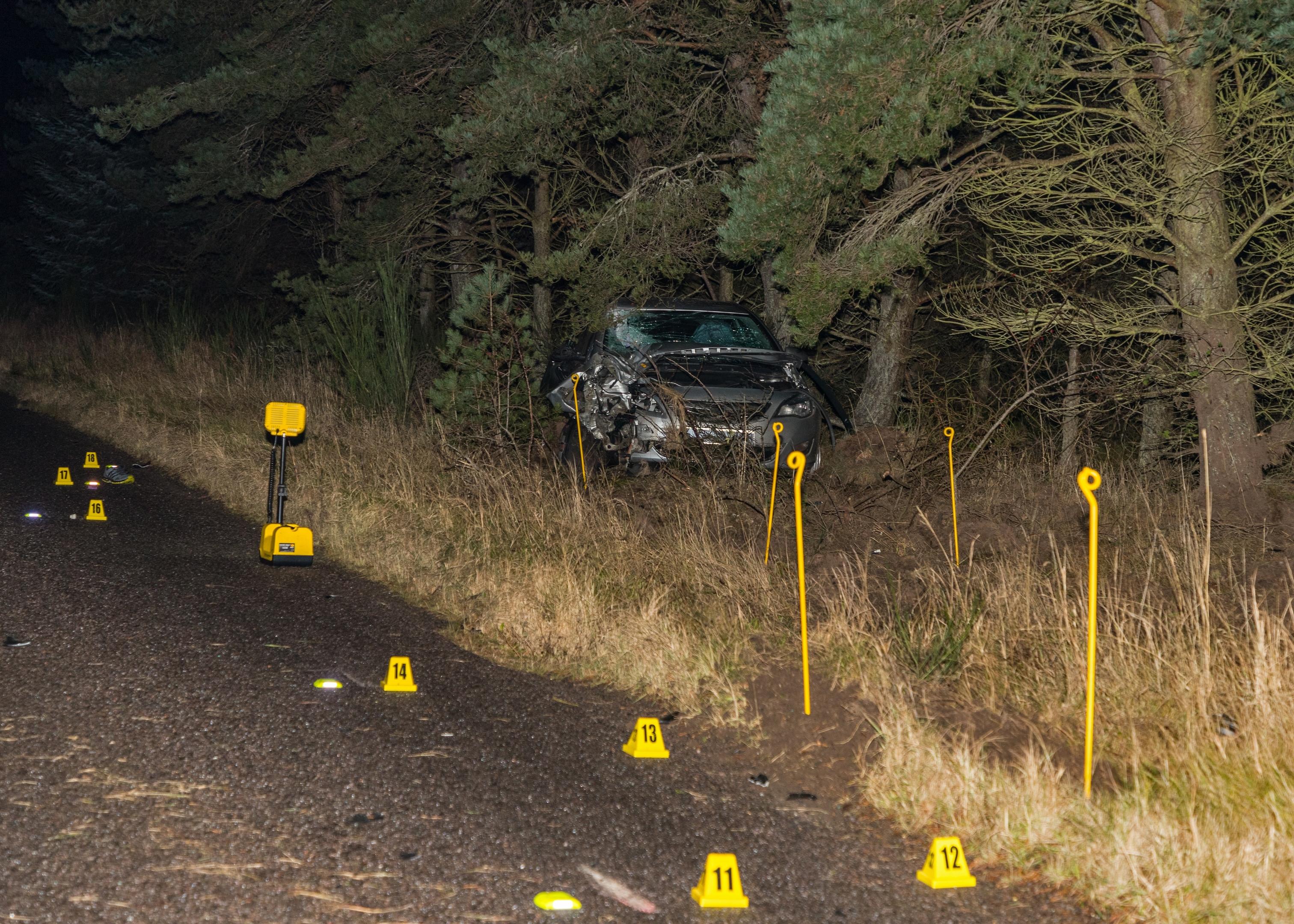 The scene of the fatal crash in Moray