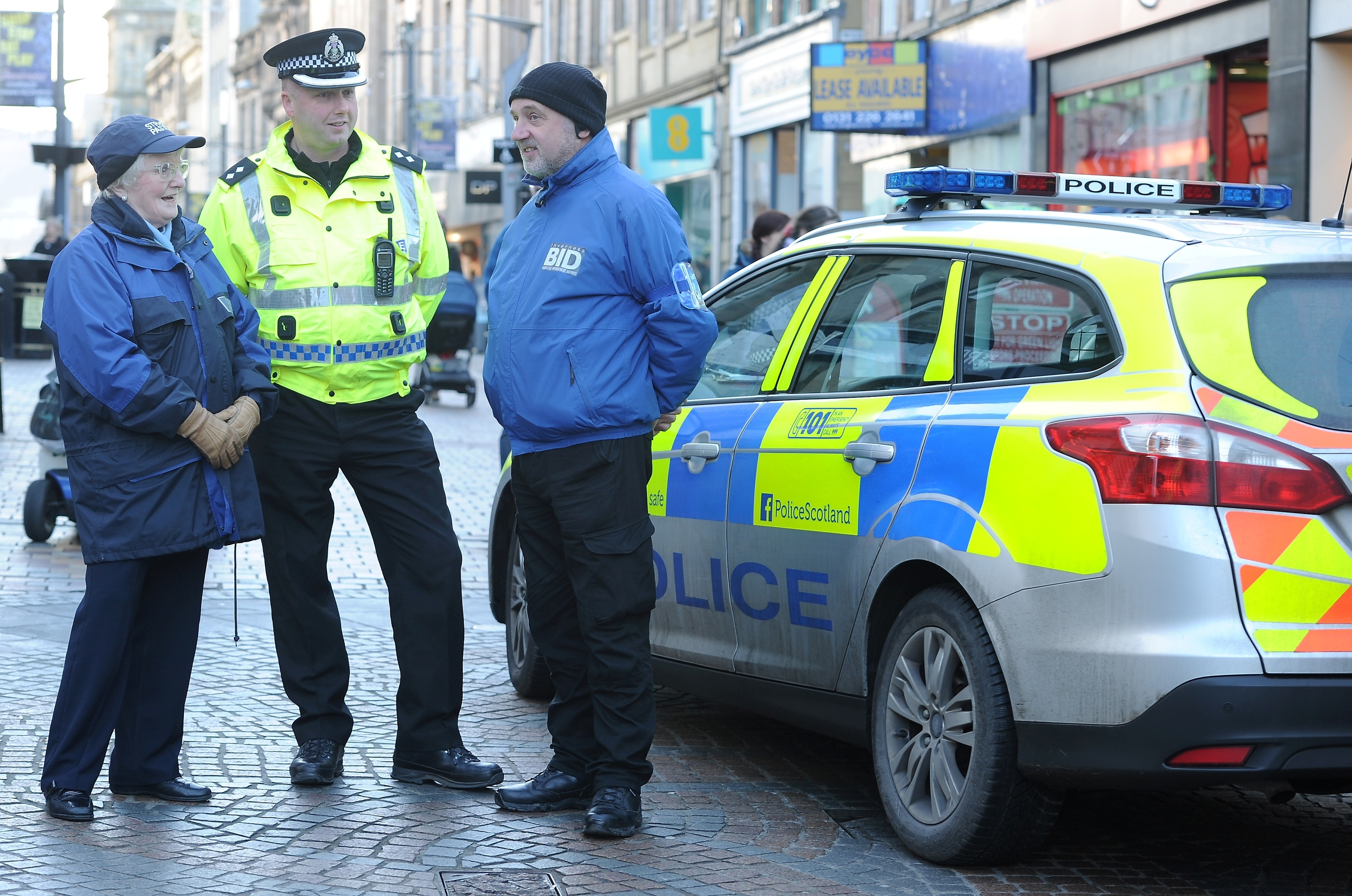 Police Scotland and their partners including Highland Council yesterday lauiched 'Operation Respect which will run over the Christmas and New Year period.  Inspector Kevin MacLeod with Street Pastor Marjory Blackley on the left and Garry Munro of BID on the right.